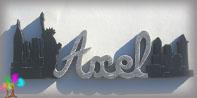Plaque de porte prenom lettres bois new york