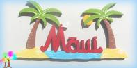 Plaque de porte prenom lettres bois palmiers atoll