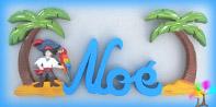 Plaque de porte prenom lettres bois pirate et palmiers