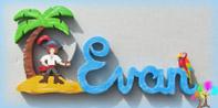Plaque de porte prenom lettres bois pirate et perroquet