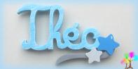Plaque de porte prenom lettres bois signature etoiles
