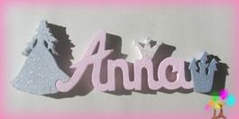 Plaque de porte prenom lettres bois silhouette princesse