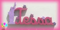 Plaque de porte prenom lettres bois statue de la liberte etoiles