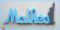 Plaque de porte prenom lettres bois statue de la liberte