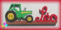 Plaque de porte prenom lettres bois tracteur