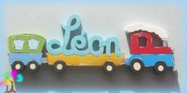 Plaque de porte prenom lettres bois train