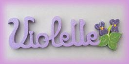 Plaque de porte prenom lettres bois violettes