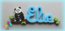 Plaque de porte prenom lettres en bois 1 panda