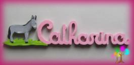 Plaque de porte prenom lettres en bois ane