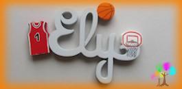 Plaque de porte prenom lettres en bois basket ball