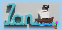 Plaque de porte prenom lettres en bois bateau pirate