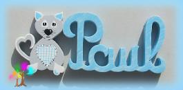 Plaque de porte prenom lettres en bois chats coeurs