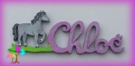 Plaque de porte prenom lettres en bois cheval au pas