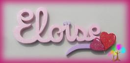 Plaque de porte prenom lettres en bois coeurs colors