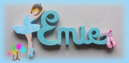 Plaque de porte prenom lettres en bois danseuse et chausson