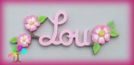 Plaque de porte prenom lettres en bois eglantines