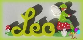 Plaque de porte prenom lettres en bois elfe champignon