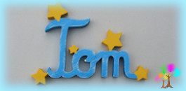 Plaque de porte prenom lettres en bois etoiles unies
