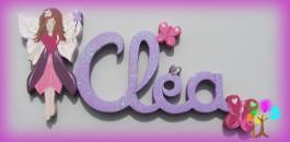 Plaque de porte prenom lettres en bois fee papillon