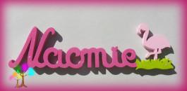 Plaque de porte prenom lettres en bois flamand rose