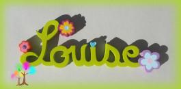 Plaque de porte prenom lettres en bois fleurs multicolores