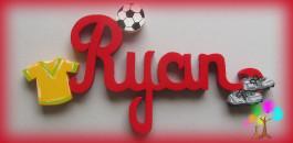 Plaque de porte prenom lettres en bois football