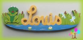 Plaque de porte prenom lettres en bois grenouille garcon