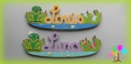 Plaque de porte prenom lettres en bois grenouilles