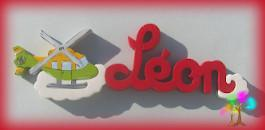 Plaque de porte prenom lettres en bois helicoptere