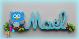 Plaque de porte prenom lettres en bois hibou