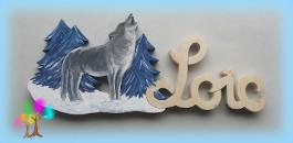 Plaque de porte prenom lettres en bois loup