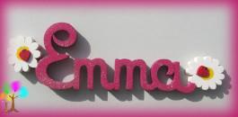 Plaque de porte prenom lettres en bois marguerites coccinelles