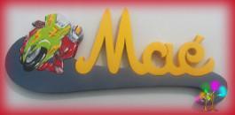 Plaque de porte prenom lettres en bois moto