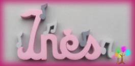 Plaque de porte prenom lettres en bois note de musique