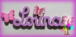Plaque de porte prenom lettres en bois papillons nuances