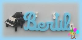 Plaque de porte prenom lettres en bois piano