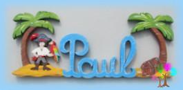 Plaque de porte prenom lettres en bois pirate et ile au tresor
