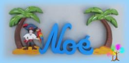 Plaque de porte prenom lettres en bois pirate et ile