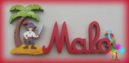 Plaque de porte prenom lettres en bois pirate perroquet