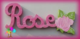 Plaque de porte prenom lettres en bois rose