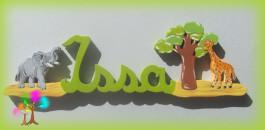 Plaque de porte prenom lettres en bois savane