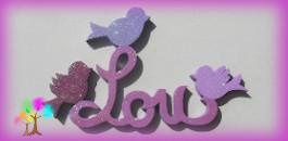 Plaque de porte prenom lettres en bois silhouette oiseaux