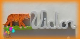 Plaque de porte prenom lettres en bois tigre