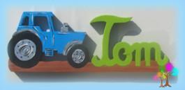 Plaque de porte prenom lettres en bois tracteur