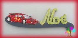 Plaque de porte prenom lettres en bois voiture