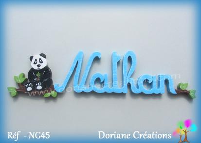 Plaque prenom en bois nathan panda