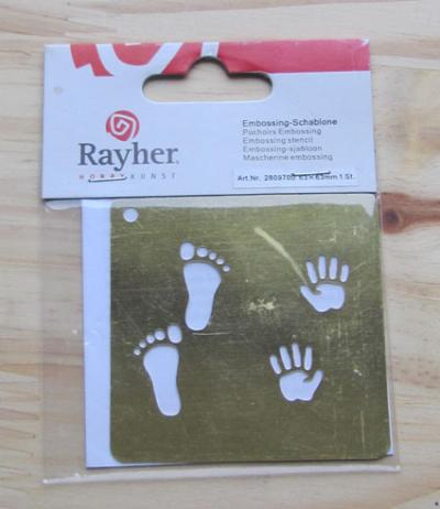 08 - pochoir embossing Rayher - pieds et mains