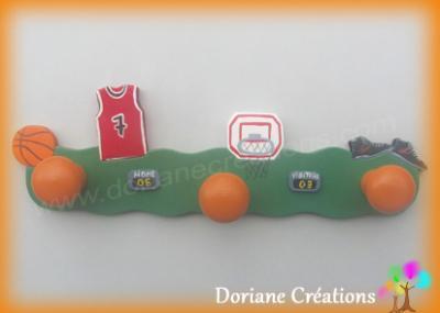 Portemanteau en bois thème Basket-Ball AVEC PRENOM