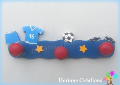 Portemanteau en bois thème football