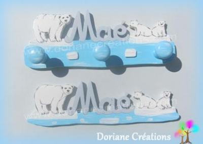Porte-manteau ours polaires avec prénom